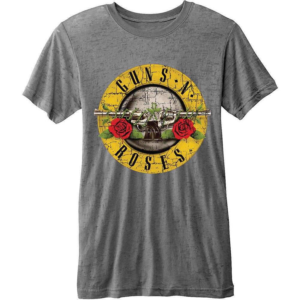 Guns N Roses Bullet Logo Burnout T-Shirt - NEU UND OFFIZIELL