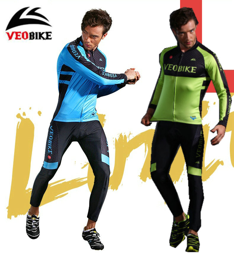 VEOBIKE 2018 Long Sleeve Breathable Men Cycling sets BTM Bicycle Riding Suits Bike jersey pants Sets ropa Cycling clothing