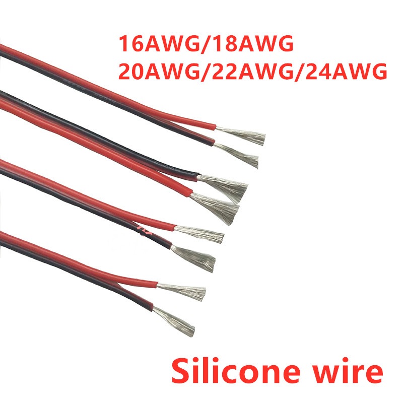 1 Meter <font><b>2pin</b></font> Extension Cable <font><b>Wire</b></font> Cord 16AWG 18/20/22/24awg Silicone Electrical <font><b>Wire</b></font> Black and Red 2 Conductor Parallel line image