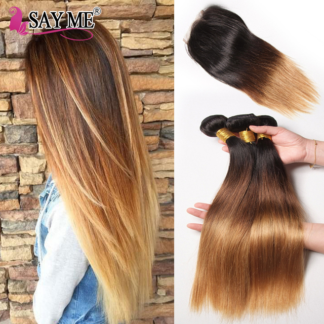 SAY ME 3 Tone Ombre Straight Human Hair Bundles With Closure 1B/4/27 30 Peruvian Hair Bundles With 4*4 Lace Closure Remy Weave