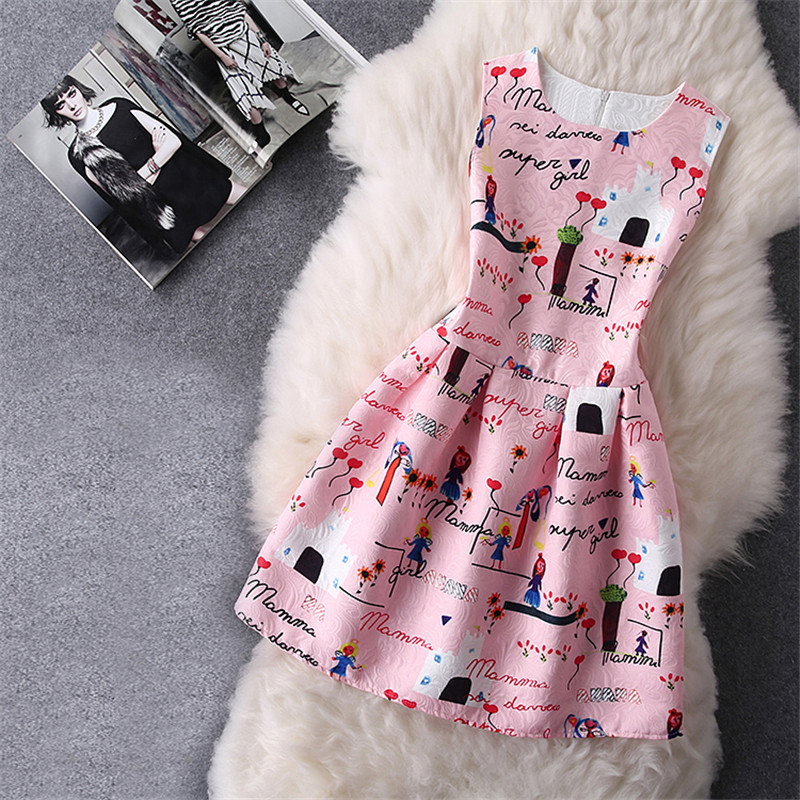 цены New Arrival Summer Girl Print Dress Cartton Pattern Print Dress For Baby Kids Dress Children Clothing Vestido 6 to 12 Years Old