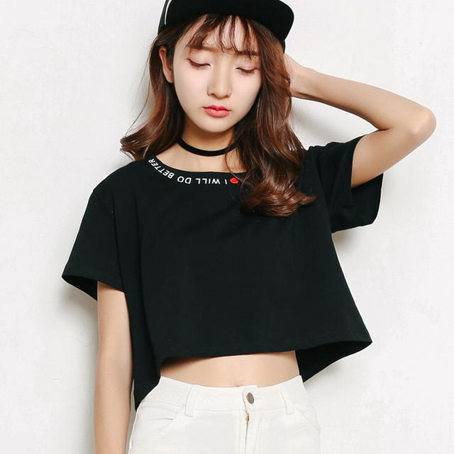 Moda bordado Design decote carta camisetas mulheres de manga curta camiseta confortáveis estudantes do sexo feminino T - camisas adolescentes