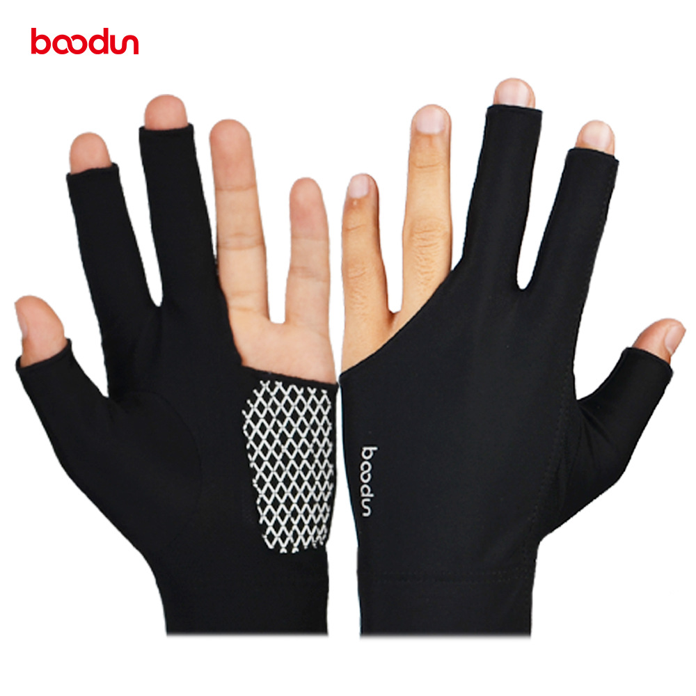 1 Piece BOODUN Three Finger Fingless Billiards Gloves Pool Cue Gloves Men Women Sports Shooters Right Left Handed Player Snooker