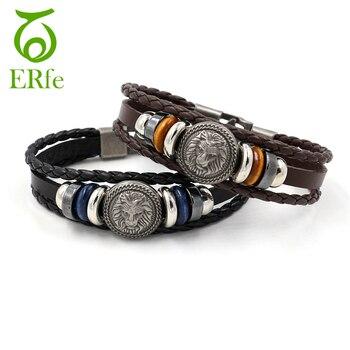 ER European Punk Lion Head Bracelet Men Vintage Leather Cuff Wristband Braslet Male Hip Hop Hand Jewelry LB022 Браслет