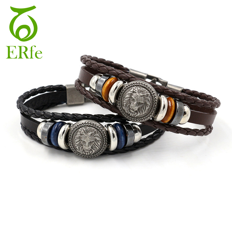 ER European Punk Lion Head Bracelet Men Vintage Leather Cuff Wristband Braslet Male Hip Hop Hand Jewelry LB022