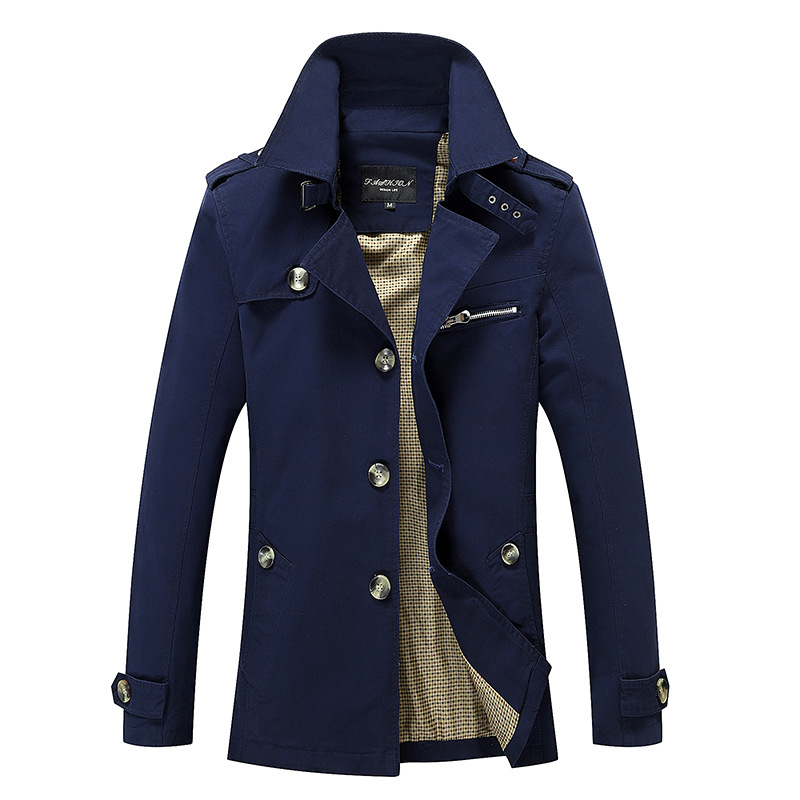 Autumn Winter Trench Jacket Men's Large Size 5XL Slim Long Trench Coat Men's Cotton Washed High Quality Casual Trench Coat