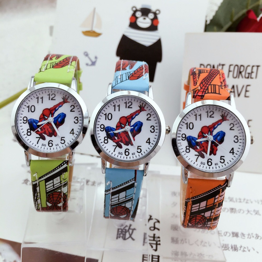 2019 Exclusive Latest Release Kids Watches Spiderman Children Watch Leather Quartz Wristwatches Child Watch Girls Boys Kid Clock