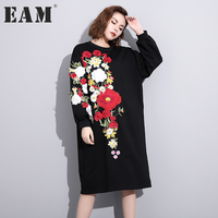 EAM 2018 Spring New Pattern Fashion Embroidery Flower Dress Woman Long Type Pullover Long Sleeve