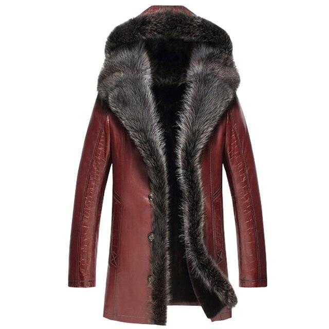 1acc12013b4 US $1909.95 15% OFF|Men's Fur Coat Fashion Sheepskin Jacket Men Raccoon Fur  Collar Hooded Parka Long Coats TJ29-in Genuine Leather Coats from Men's ...