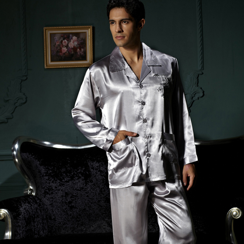 XIFENNI Brand Men's Pajamas Embroidery Long-Sleeved Pajama Pants Sets Sexy Satin Silk Pyjama Lounge Sets Hot Trend 3313