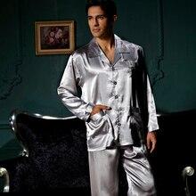 XIFENNI Brand Mens Pajamas Embroidery Long-Sleeved Pajama Pants Sets Sexy Satin Silk Pyjama Lounge Hot Trend 3313