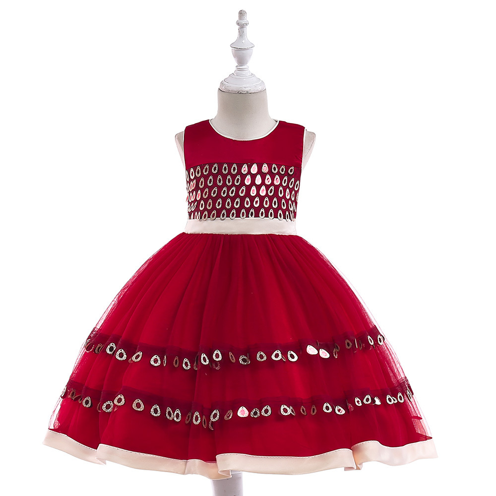Girls Dress Mesh Sequins wine red Children Wedding Party Dresses Kids Christmas Ball Gowns Formal Baby Clothes for Girls