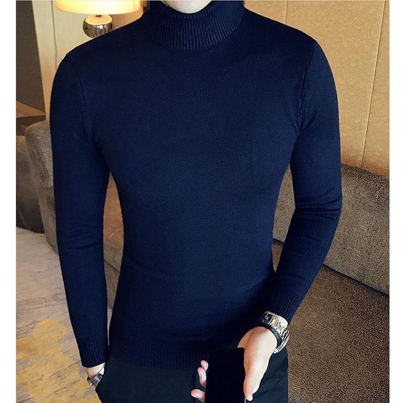Зимний толстый теплый мужской свитер с высоким воротником, Брендовые мужские свитера с высоким воротником, облегающий пуловер, Мужская трикотажная одежда с двойным воротником - Цвет: MG03  dark blue