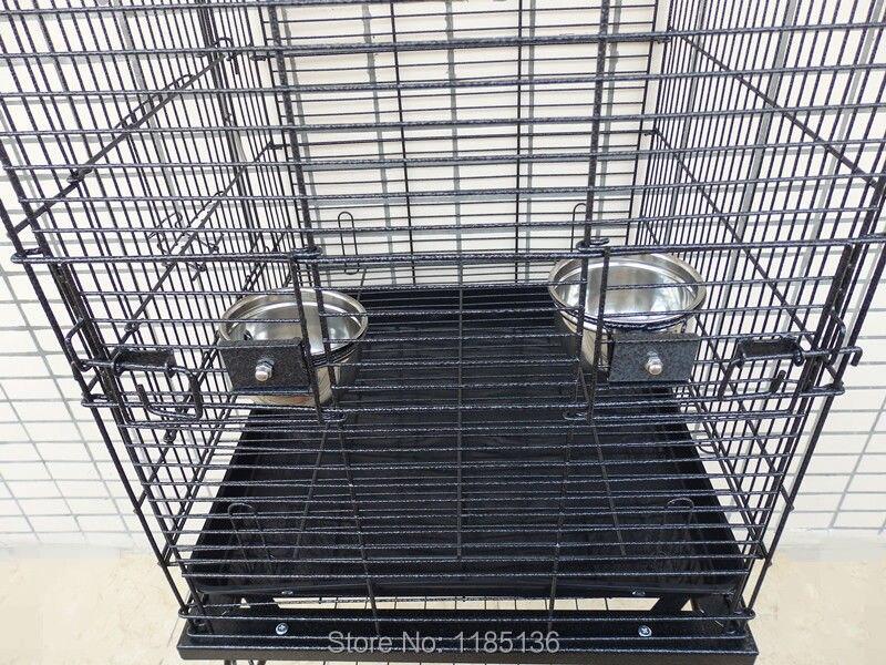 Grande Cage à oiseaux ouverte Top perroquet Cage en métal Finch Macaw Cockatoo veine noire B10X - 5