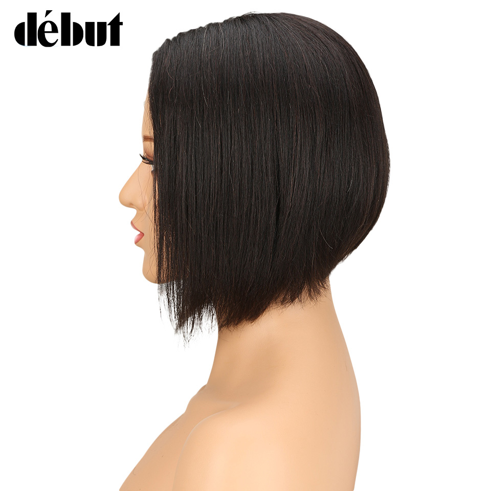 Debut Hair Brazilian Straight Remy Hair Human Hair Wigs For Black Women Lace Bob Wigs With Baby Hair Short Layered Bob Style
