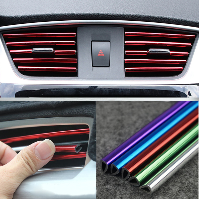 Car Interior Air Conditioner Outlet Vent Grille Chrome Decoration Strip For Volkswagen POLO Golf 5 6 Passat B5 B6 MK5 MK6 Tiguan