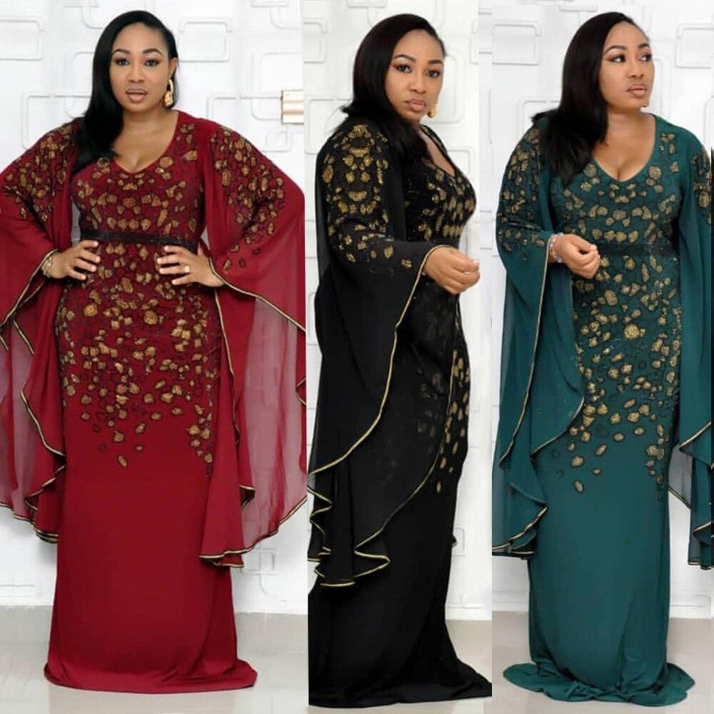 Nouvelles robes africaines pour femmes robe africaine femme longue lâche maxi robe ankara afrique vêtements brodés dashiki bazin riche