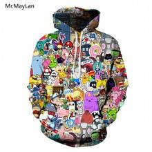 Hipster Cartoon Anime 3D Print Pokemon Tracksuit Men/Women Winter Jacket Hiphop Hoodies Sweatshirts Boys Coat Oversize Clothing