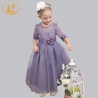 Nimble Princess Formal Long Dress Lace Sleeves Handmade Beading Flower Girl Dresses For Weddings