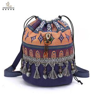 Женский рюкзак в богемном стиле, красивые женские сумки, Холщовая Сумка на плечо, хлопковая тканевая сумка в стиле бохо, ранец в этническом с...