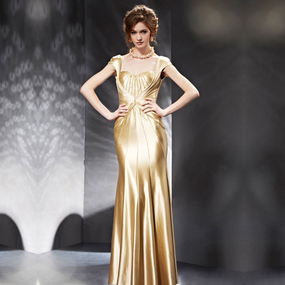 Gold satin dresses