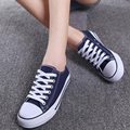 Women Lady Preppy Style New 2016 Spring Autumn All Seasons Canvas Shoes Breathable Lace up Casual Low Flat Shoes Zapatillas