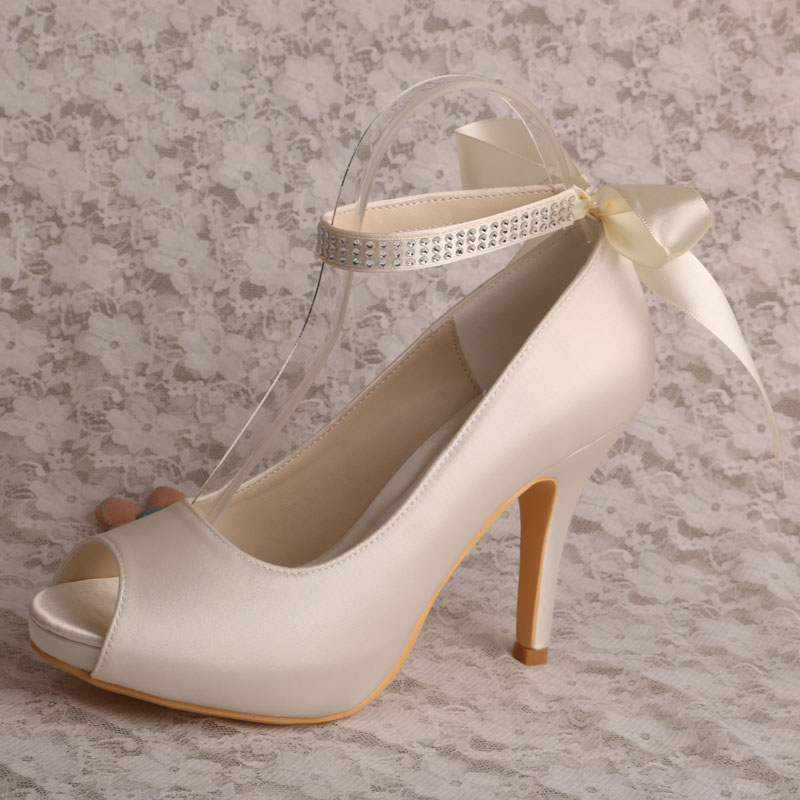 ФОТО Fashion Ankle Strap Women Wedding Bridal Shoes Satin 10CM Ivory Platform Pumps