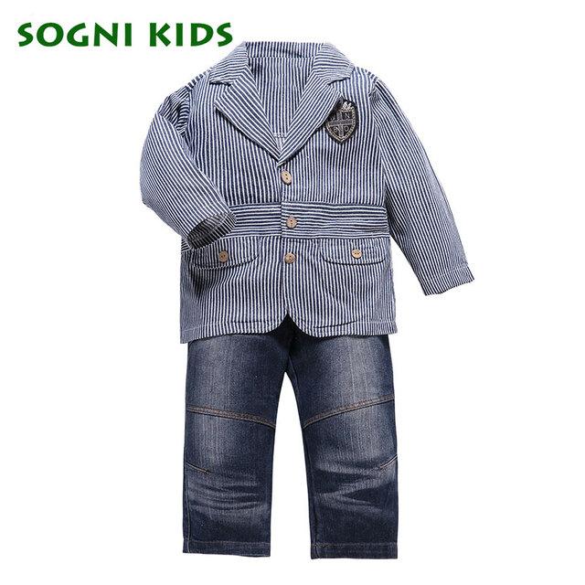 SOGNI CRIANÇAS Primavera menino roupas 3 peças crianças roupas ternos casaco + T-shirt + jeans calças para meninos conjuntos de roupas cavalheiro terno