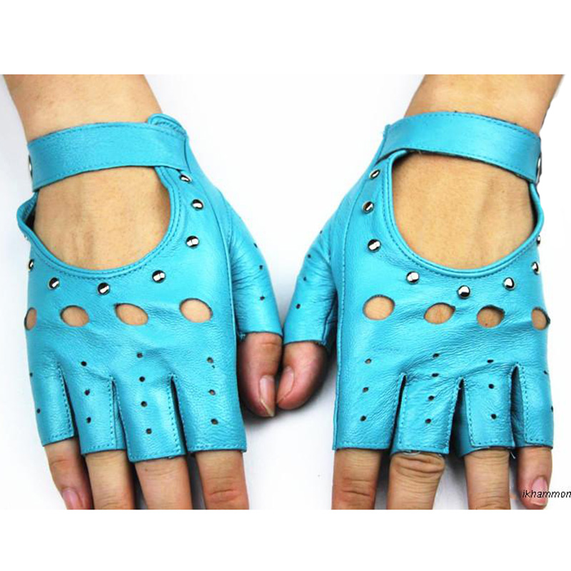 Fingerless Handskar 2017 Ms Fashion Style Hollow Rivet Half Finger - Kläder tillbehör - Foto 5