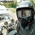 Óculos de Motocross Rosto Máscara Capacete Destacável Do Vintage Scooter Jet Capacetes Máscara Goggles Ski Snowboard Skate Goggles Óculos