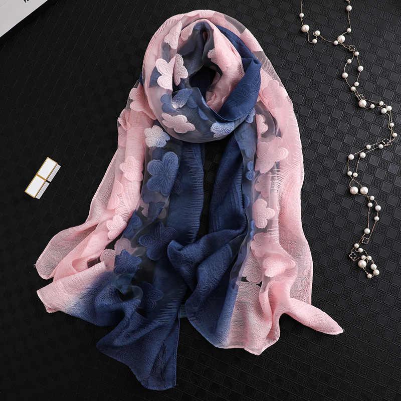 シルクスカーフオーガンザ勾配色の花レーススカーフ春ラップサロンファムビーチ軽量日焼け女性のためのショール