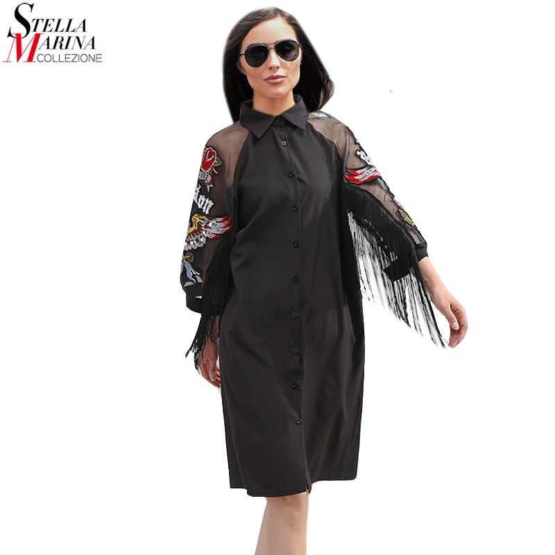New 2018 Women Black Shirt Dress 3 4 Mesh Sleeved Embroidery Patches    Sashes Lady 7345581f276e