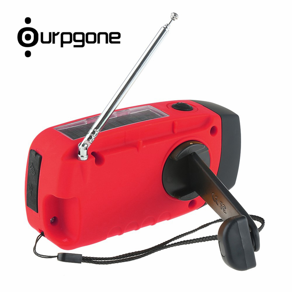 Ourpgone Brand 1*Outdoor Camping Tools Red Solar Powered Radio Hand Crank FM LED Flashlight Phone Charger Free shipping! rd 310 1 3 lcd hand cranked dynamo 5 led flashlight w alarm function fm radio white grey
