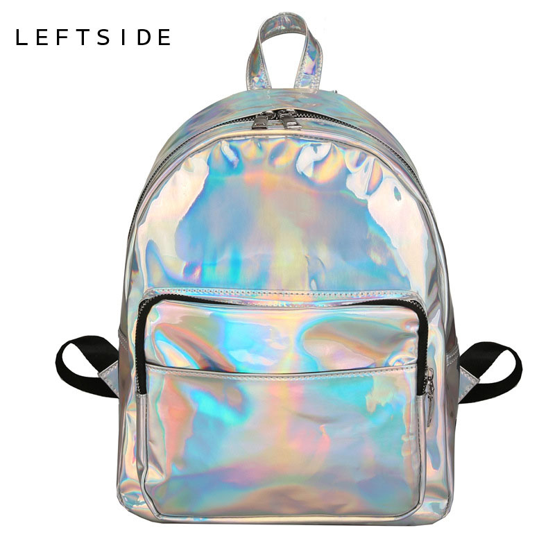 Bolsa Estilo Satchel : Leftside size women backpack hologram laser backpacks