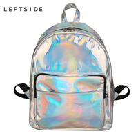 LEFTSIDE 3 Size Women Backpack Hologram Laser Backpacks Girl School Bag Female Mini Pack Bags Silver