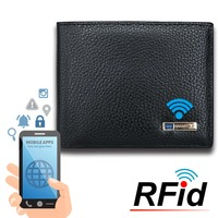 Modoker RFID Genuine Leather Men Smart Wallet 2018 Purse Anti Thief Card Holders GPS Map Tracking