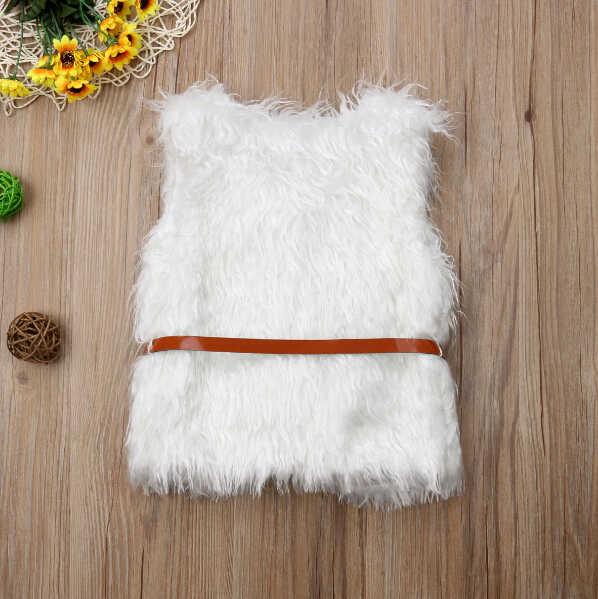 Модная одежда для малышей Верхняя одежда для девочек из искусственного меха Зимние теплые талия жилет пальто с поясом Милая одежда