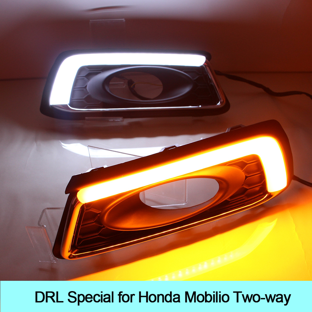Car DRL kit for Honda Mobilio Daytime Running Light bar Super bright fog auto lamp daylight automobiles cree for car led drl 12v car drl kit for audi a4 l b8 2009 2012 led daytime running light bar super bright auto fog lamp daylight for car led drl light