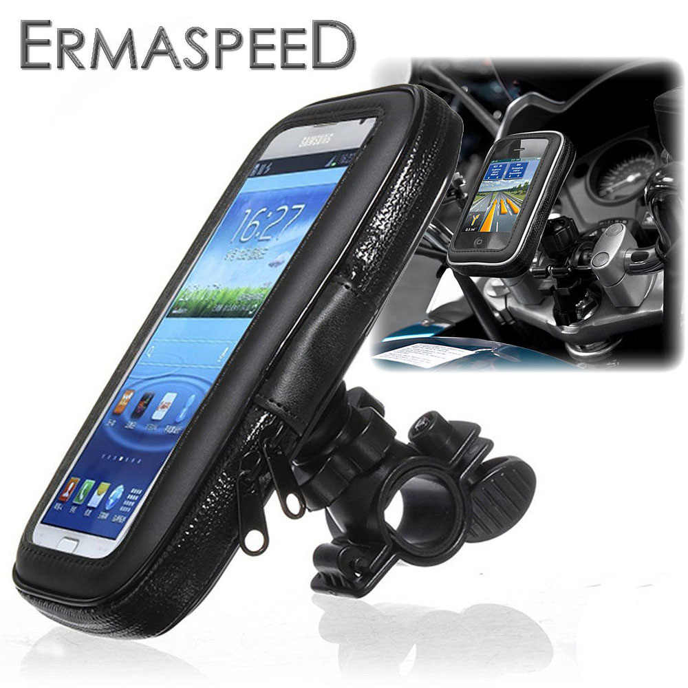 Motorcycle Phone Holder Zipper Pocket Handlebar Bracket Mount Universal for Harley Honda Kawasaki Yamaha Cruiser Chopper Bobber