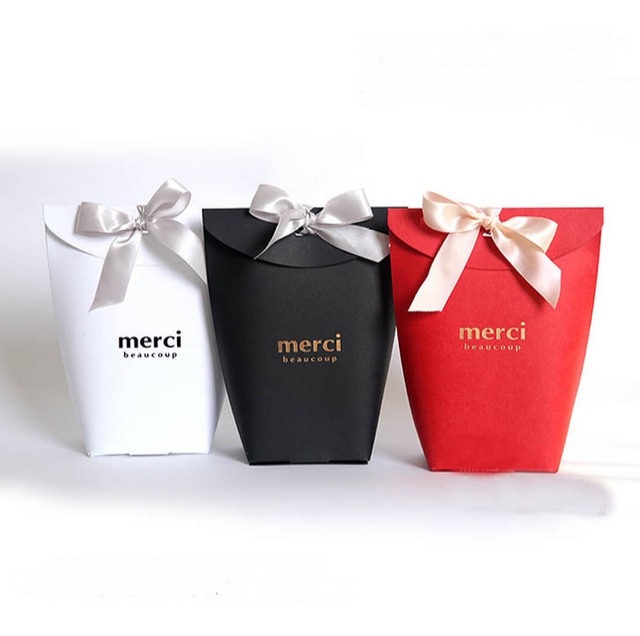 20 Pcs White Black Red Wedding Favors Candy Bo Oniera Sachet Party Gift Box