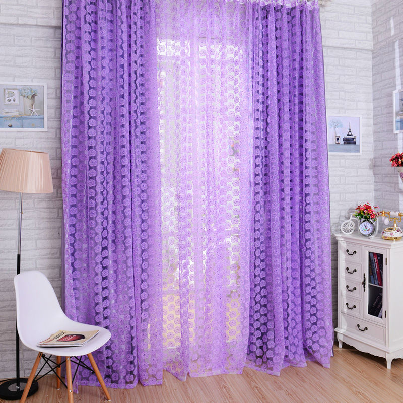 Rose Tulle Window Screens Door Balcony Shop Window Display. Curtain,Sheer Drape Panel Scarfs Valances,living room curtains E5M1