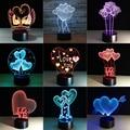 3D визуальная лампа Оптическая иллюзия 7 красочная Светодиодная настольная лампа сенсорная романтическая Праздничная Ночная лампа любовь с...
