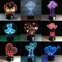 3D Visual Bulb Optical Illusion 7 Colorful LED Table Lamp Touch Romantic Holiday Night Light Love Heart Wedding Gifts Dropship