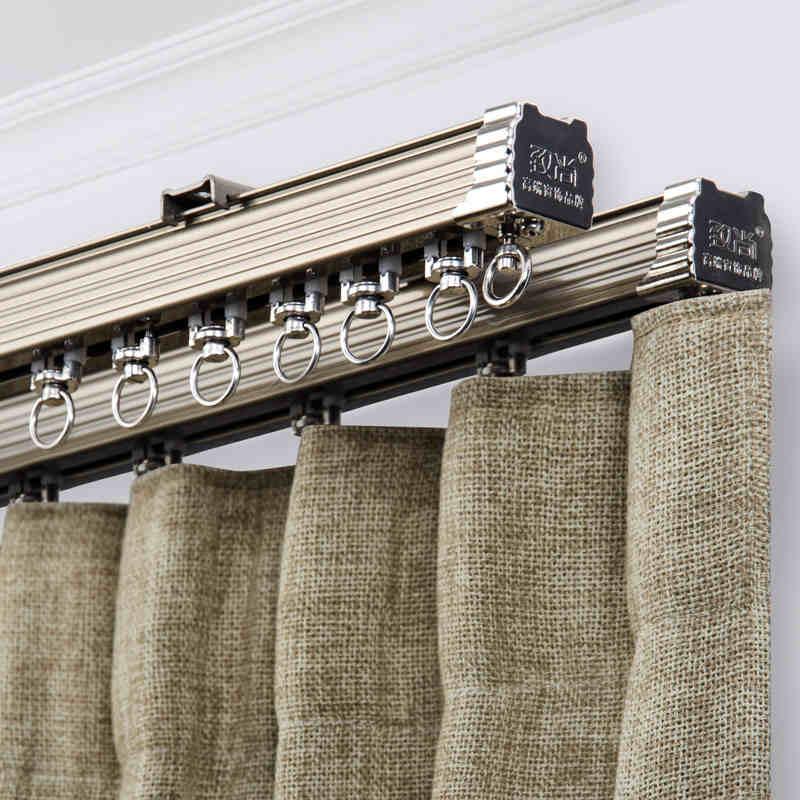 Tres Colores marfil champán teca grano pista recta densamente aleación de aluminio silencio cortina pistas cortina Accesorios