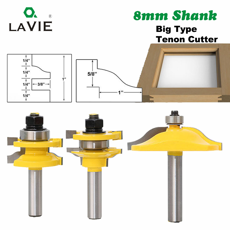 8mm Shank Raised Panel Cabinet Door Router Bit Woodwork Tenon Cutter 3pcs