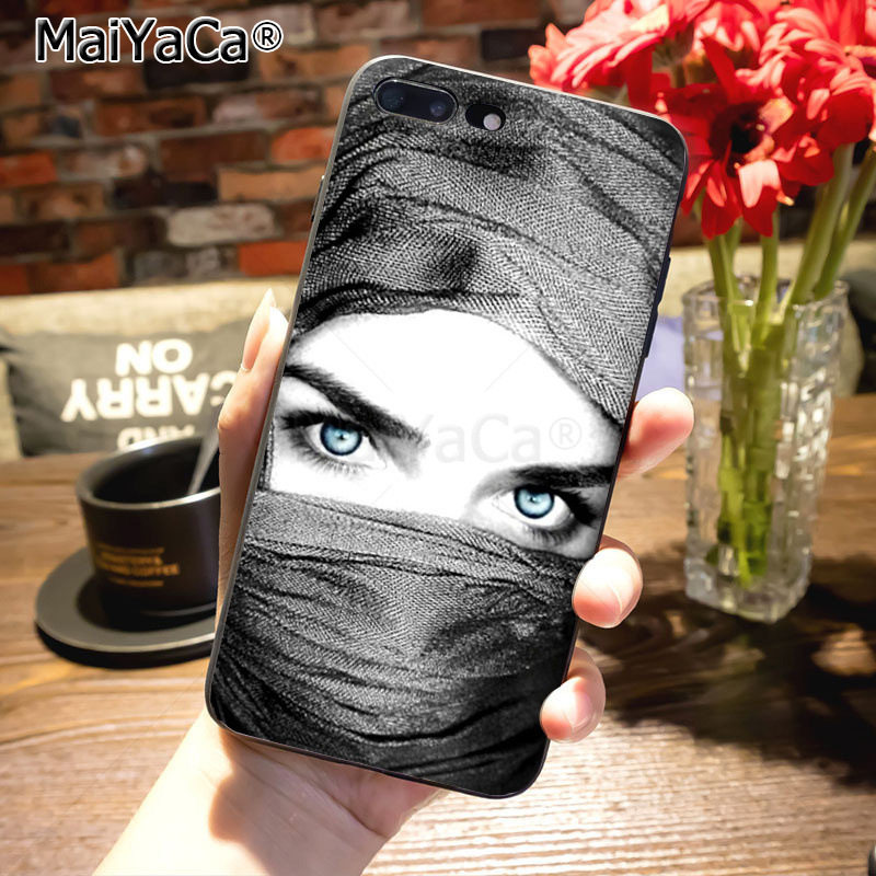Image 4 - MaiYaCa For iphone 8plus cover Luxury phone case Muslim islamic  gril eyes For iPhone 8 7 6 6S Plus X XS MAX XR 5S SE 11 pro max case  coqueHalf-wrapped Cases