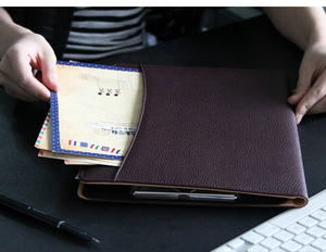 Image 3 - black multifunctional PU leather notepad a4 clip file notepad holder cover for document business travel documents case