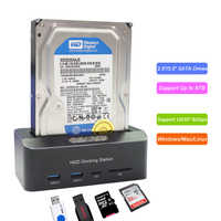"External 2.5""/3.5"" USB 3.0 5Gbps SATA Hard Drive Docking Station HDD SSD Box With 2 x USB 3.0 Hub TF/SD Card Reader Support UASP"