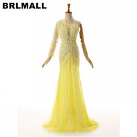 BRLMALL Amazing Yellow One shoulder Prom Dress 2017 Chiffon Mermaid robe de soiree Lace Appliques Evening Dress Party Gowns