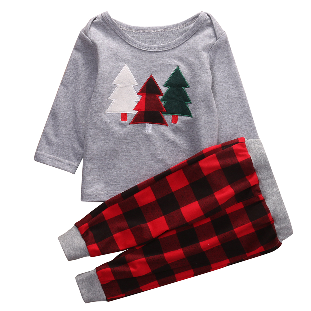 2018 Unisex Toddler Kids Baby Boy Girl Clothes Christmas Tree Top T-shirt Plaid Pant 2pcs Outfit Clothing Set все цены